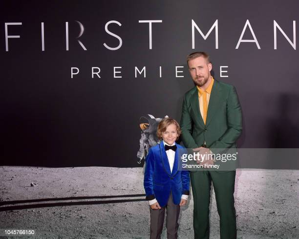 Actors Gavin Warren and Ryan Gosling attend the First Man premiere at the National Air and Space Museum on October 4 2018 in Washington DC