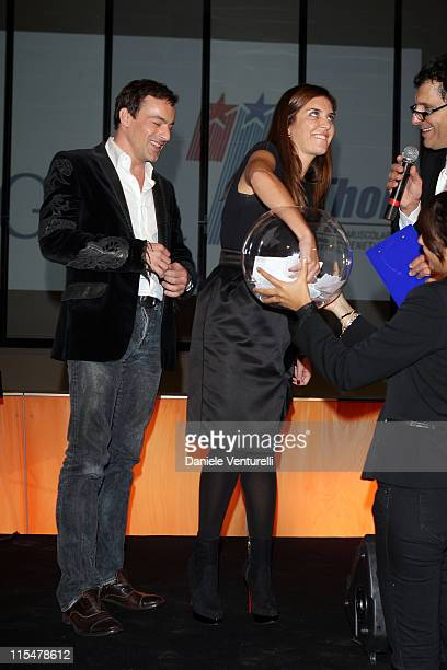 Actors Gedeon Burkhard, Gisella Marengo and Fabrizio Frizzi attend the Charity Gala Telethon during Day 8 of the 4th International Rome Film Festival...