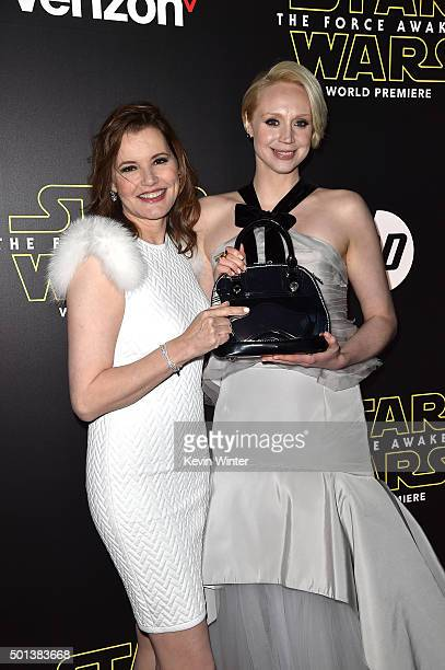 Actors Geena Davis and Gwendoline Christie attend the World Premiere of 'Star Wars The Force Awakens' at the Dolby El Capitan and TCL Theatres on...