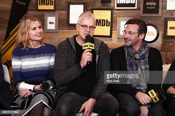 Actors Geena Davis Tim Robbins and Jon Hamm of Marjorie Prime attend The IMDb Studio featuring the Filmmaker Discovery Lounge presented by Amazon...