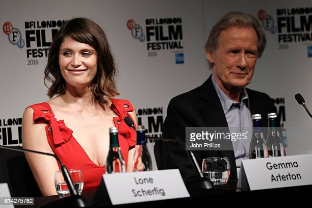 Actors Gemma Arterton and Bill Nighy attend 'Their Finest' press conference during the 60th BFI London Film Festival at The Mayfair Hotel on October...