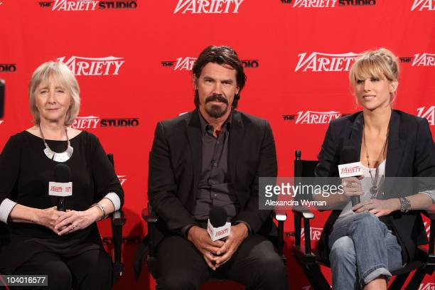 Actors Gemma Jones Josh Brolin and Lucy Punch attend Day 2 at the Variety Studio at Holt Renfrewduring the 35th Toronto International Film Festival...