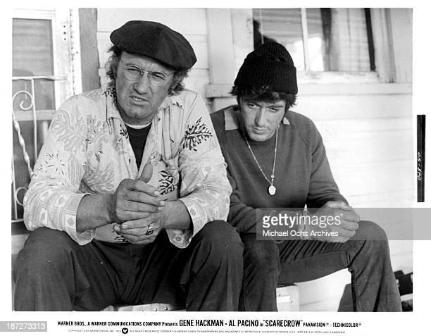 Actors Gene Hackman and Al Pacino on set for the Warner Bros movie Scarecrow in 1973