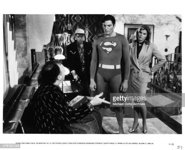 Actors Gene Hackman and Christopher Reeve and actress Mariel Hemingway in a scene from the Warner Bros movie Superman IV The Quest for Peace circa...