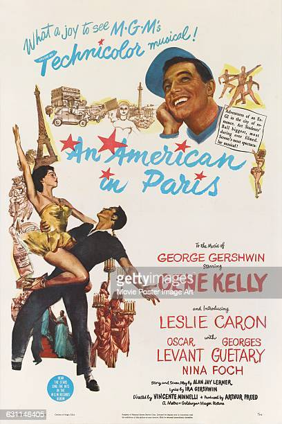 Actors Gene Kelly and Leslie Caron appear on a poster for the 1951 musical romance 'An American in Paris' directed by Vincente Minnelli for MGM with...