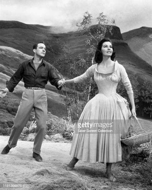 Actors Gene Kelly as Tommy Albright and Cyd Charisse as Fiona Campbell in the musical film 'Brigadoon' 1954