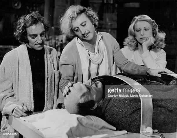 Actors Gene Wilder Peter Boyle Marty Feldman and Teri Garr in a scene from the movie 'Young Frankenstein' 1974
