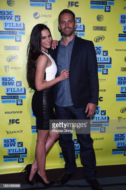 Actors Genesis Rodriguez and Paul Walker arrive at the screening of Hours during the 2013 SXSW Music Film Interactive Festival at Topfer Theatre at...