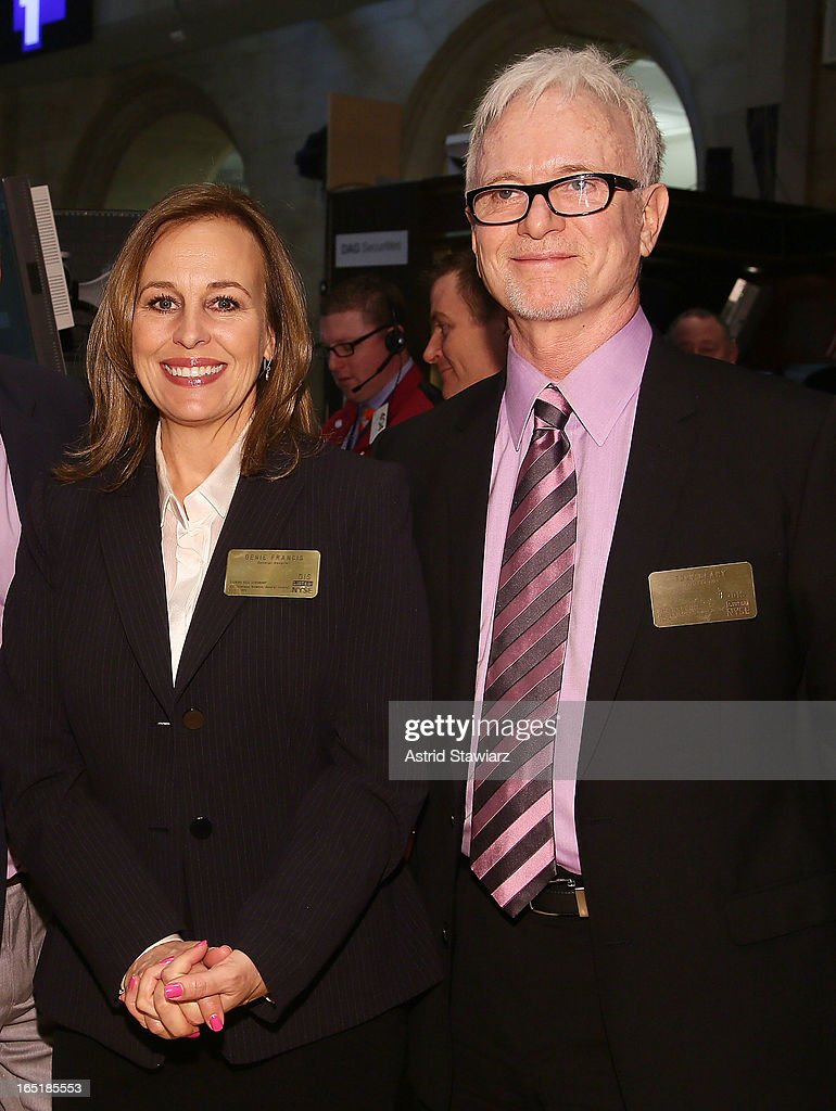 Actors Genie Francis and Tony Geary of ABCÕs soap opera General Hospital ring the opening bell at the New York Stock Exchange on April 1, 2013 in New York City.