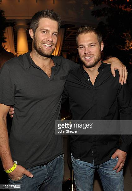 Actors Geoff Stults and George Stults attend the after party for the Fallout New Vegas Launch Event Featuring Vampire Weekend at XS The Nightclub at...