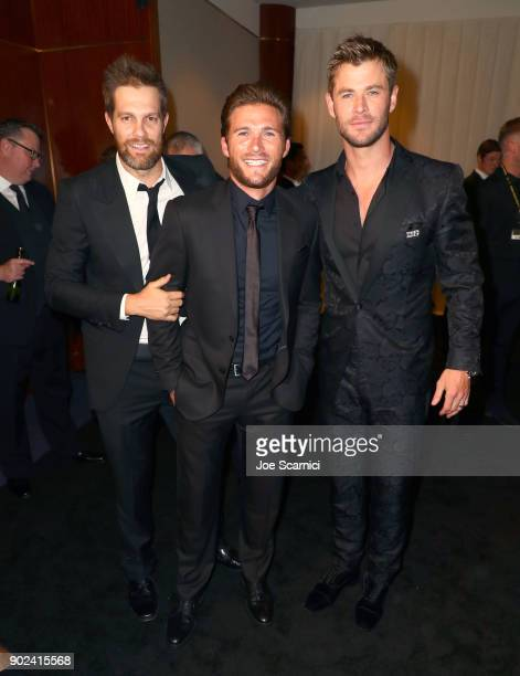 Actors Geoff Stults Scott Eastwood and Chris Hemsworth attend the 2018 InStyle and Warner Bros 75th Annual Golden Globe Awards PostParty at The...