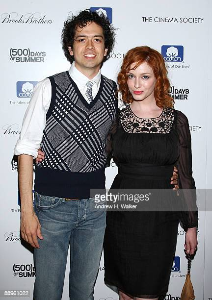 Actors Geoffrey Arend and Christina Hendricks attend a screening of '500 Days Of Summer' hosted by The Cinema Society with Brooks Brothers and Cotton...