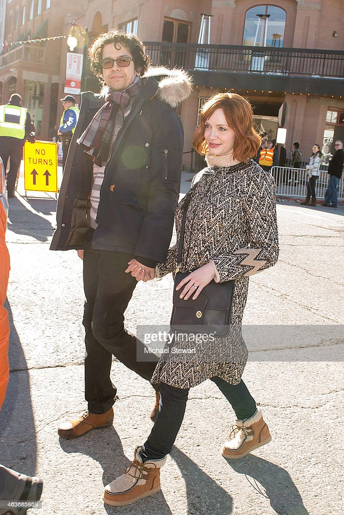 Actors Geoffrey Arend (L) and Christina Hendricks attend Oakley Learn To Ride With AOL at Sundance on January 18, 2014 in Park City, Utah.