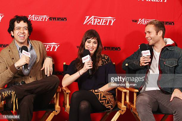 Actors Geoffrey Arend Lizzy Caplan and Mark Webber speak at Day 1 of The Variety Studio at The 2012 Sundance Film Festival at Variety Studio on...