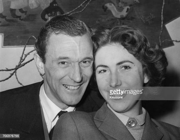 Actors Geoffrey Lewis and his fiance Lesley Saweard 13th March 1956 The couple both have roles in the BBC radio soap opera 'The Archers'