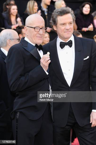 Actors Geoffrey Rush and Colin Firth arrive at the 83rd Annual Academy Awards held at the Kodak Theatre on February 27 2011 in Hollywood California