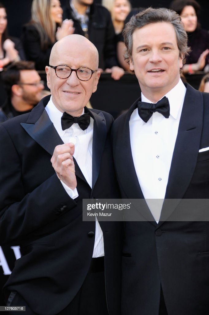 Actors Geoffrey Rush and Colin Firth arrive at the 83rd Annual Academy Awards held at the Kodak Theatre on February 27, 2011 in Hollywood, California.