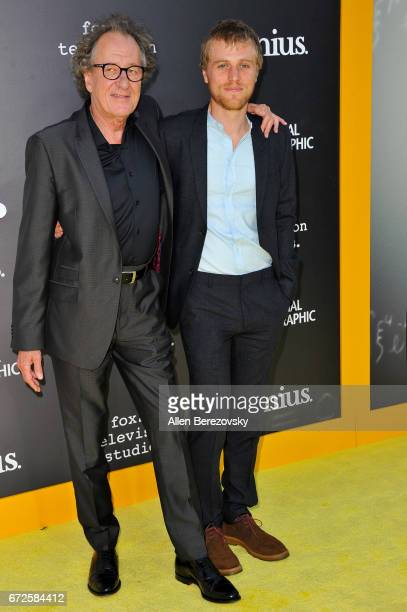 Actors Geoffrey Rush and Johnny Flynn attend a premiere of National Geographic's 'Genius' at Fox Bruin Theater on April 24 2017 in Los Angeles...