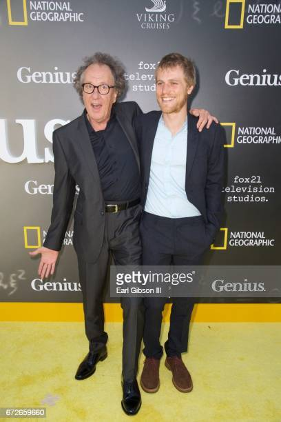 Actors Geoffrey Rush and Johnny Flynn attend the Premiere Of National Geographic's 'Genius' at Fox Bruin Theater on April 24 2017 in Los Angeles...
