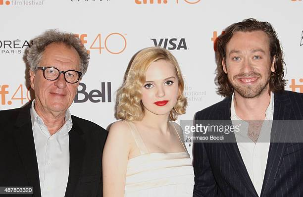 Actors Geoffrey Rush Odessa Young and Writer/Director Simon Stoneattends 'The Daughter' photo call during the 2015 Toronto International Film...