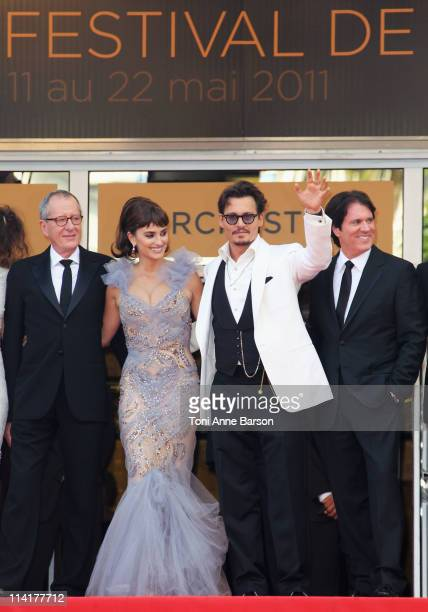 """Actors Geoffrey Rush, Penelope Cruz, Johnny Depp and director Rob Marshall attends the """"Pirates of the Caribbean: On Stranger Tides"""" Premiere during..."""
