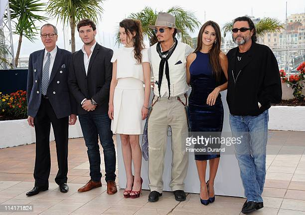 """Actors Geoffrey Rush, Sam Caflin, Astrid Berges-Frisbey, Johnny Depp, Penelope Cruz, and Ian McShane attend the """"Pirates of the Caribbean: On..."""