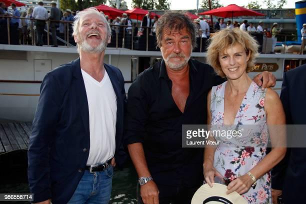 Actors Geoffroy Thiebaut and Olivier Marchal and Actress Anne Richard attend 'Trophee de la Petanque Gastronomique' at Paris Yacht Marina on June 28...