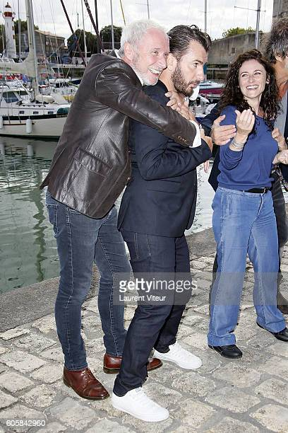 Actors Geoffroy Thiebaut Michael Youn and Actress Elsa Lunghini attend the 'Mon Frere Bien Aime' Photocall during the 18th Festival of TV Fiction on...
