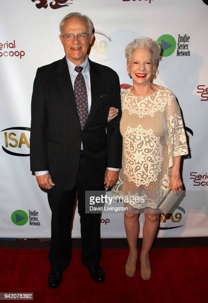 Actors George Bamford and Jennifer Bassey attend the 9th Annual Indie Series Awards at The Colony Theatre on April 4, 2018 in Burbank, California.