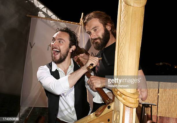 Actors George Blagden and Clive Standen attend HISTORY's All Hail Vikings Party at WIRED Cafe in the Omni Hotel during ComicCon 2013 on July 19 2013...