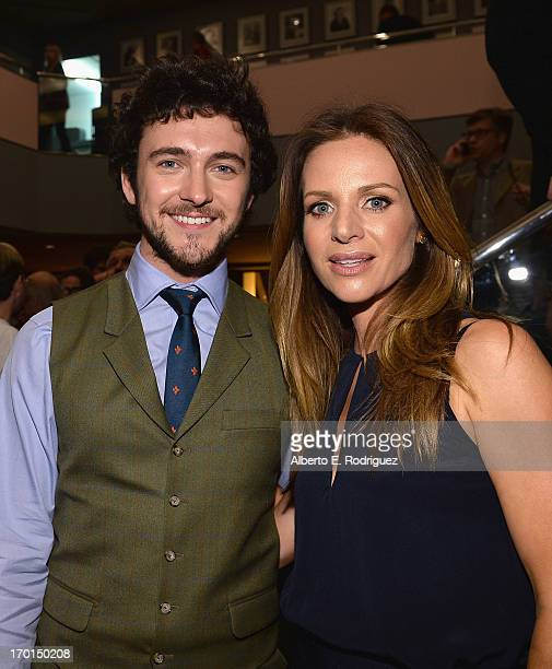 Actors George Blagden and Jessalyn Gilsig attend a reception for a screening and QA for The History Channel's 'Vikings' at Leonard H Goldenson...