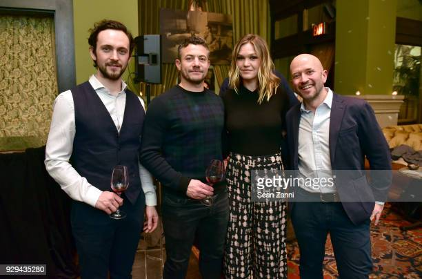 Actors George Blagden Warren Brown Julia Stiles and Wine expert Joe Fattorini attend as Ovation TV hosts 20182019 Programming Preview at Soho Grand...