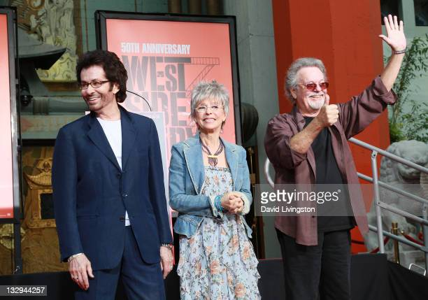 Actors George Chakiris Rita Moreno and Russ Tamblyn attend their hand and footprint ceremony celebrating the 50th anniversary of West Side Story at...