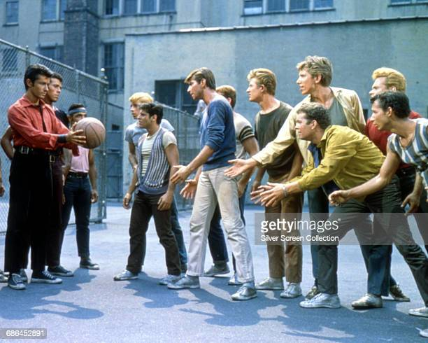 Actors George Chakiris, Tony Mordente, Tucker Smith and Russ Tamblyn in a scene from the musical film 'West Side Story', 1961.