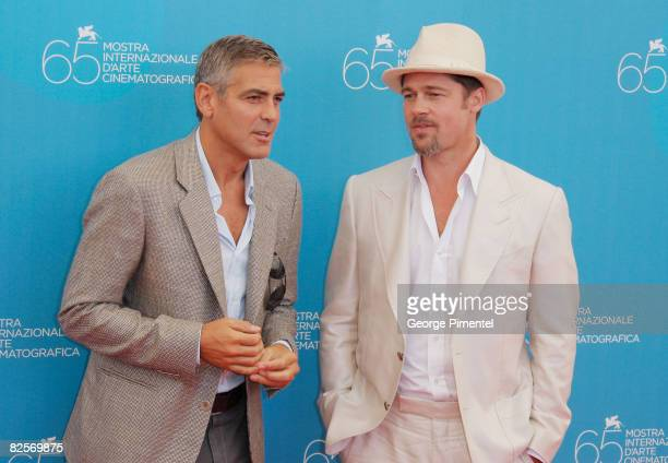Actors George Clooney and Brad Pitt during the 'Burn After Reading' Photocall part of the 65th Venice Film Festival at Palazzo del Casino on August...