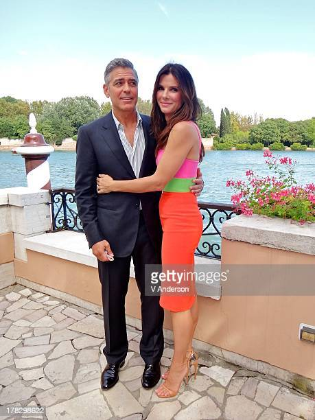 Actors George Clooney and Sandra Bullock attend the Gravity lunch during the 70th Venice International Film Festival at the Hotel Cipriani on August...