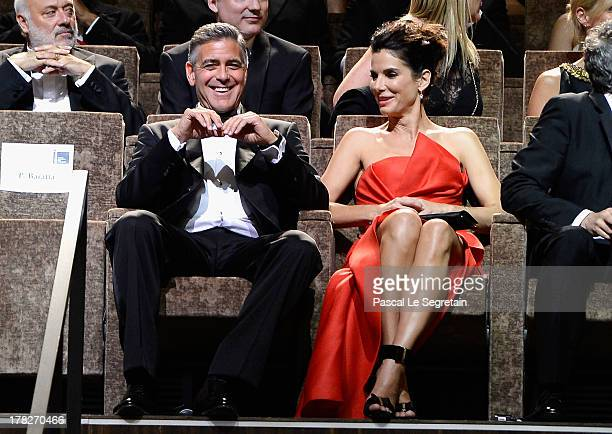 Actors George Clooney and Sandra Bullock attend the Opening Ceremony And 'Gravity' Premiere during the 70th Venice International Film Festival at the...