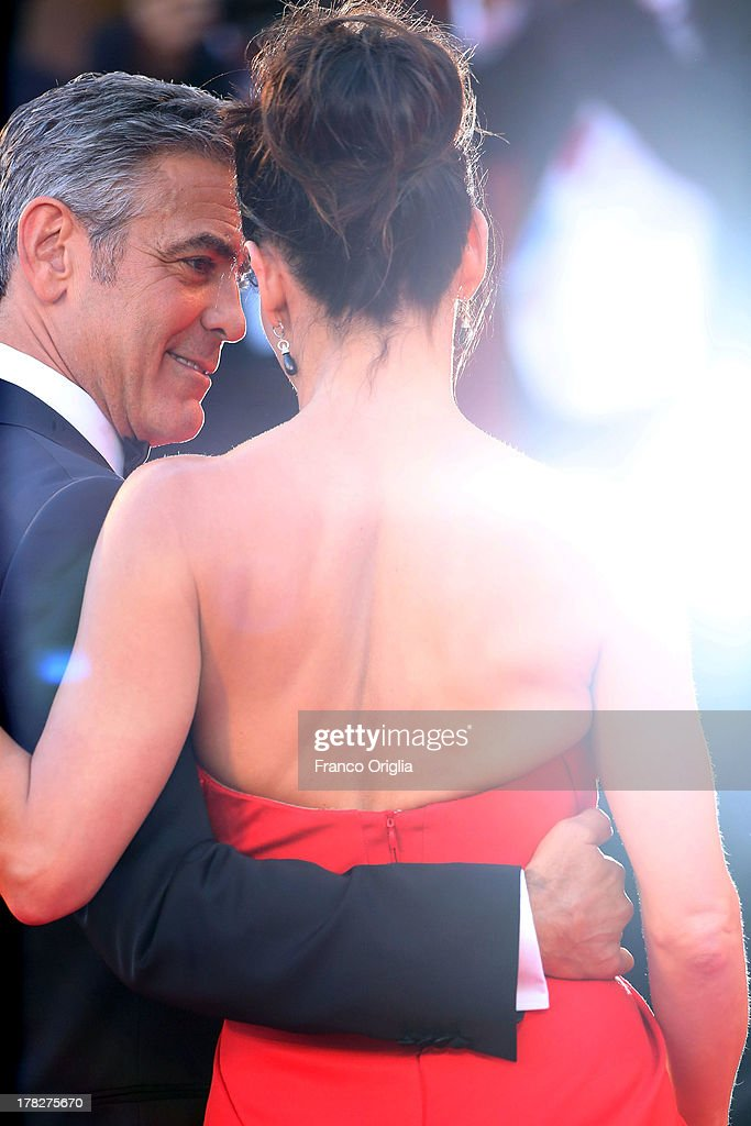 Actors George Clooney and Sandra Bullock attend the Opening Ceremony And 'Gravity' Premiere at Palazzo del Cinema on August 28, 2013 in Venice, Italy.