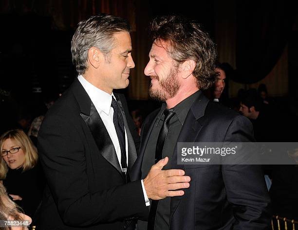 Actors George Clooney and Sean Penn inside at the 13th ANNUAL CRITICS' CHOICE AWARDS at the Santa Monica Civic Auditorium on January 7, 2008 in Santa...