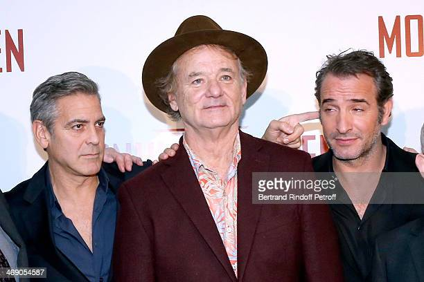 Actors George Clooney, Bill Murray and Jean Dujardin attend the 'Monuments Men' : Premiere at Cinema UGC Normandie on February 12, 2014 in Paris,...