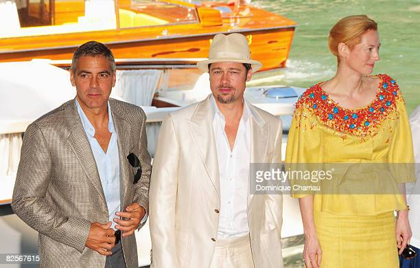 Actors George Clooney , Brad Pitt and Tilda Swinton arrive by boat ahead of the Burn After Reading photocall during the 65th Venice Film Festival at...