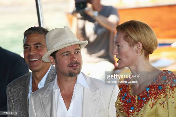 Actors George Clooney Brad Pitt and Tilda Swinton arrive for the 'Burn After Reading' Photocall part of the 65th Venice Film Festival at Palazzo del...