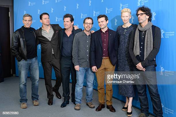 Actors George Clooney Channing Tatum Josh Brolin director Ethan Coen actors Alden Ehrenreich Tilda Swinton and director Joel Coen attend the 'Hail...