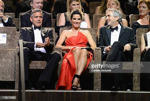 Actors George Clooney Sandra Bullock and Director Alfonso Cuaron attend the Opening Ceremony during The 70th Venice International Film Festival on...