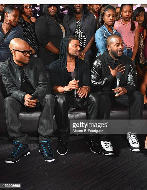 Actors George Gore II Damien Dante Wayans and Craig Wayans at a live taping of BET's 106 Park at The Conga Room at LA Live on January 4 2013 in Los...