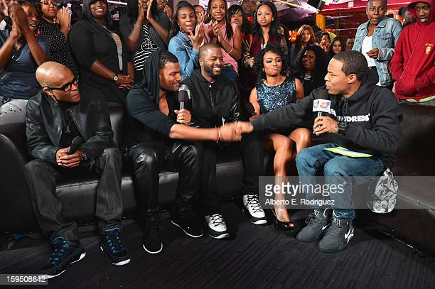 Actors George Gore II Damien Dante Wayans Craig Wayans Tatyana Ali and TV host Bow Wow at a live taping of BET's 106 Park at The Conga Room at LA...