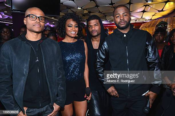 Actors George Gore II Tatyana Ali Damien Dante Wayans and Craig Wayans at a live taping of BET's 106 Park at The Conga Room at LA Live on January 4...