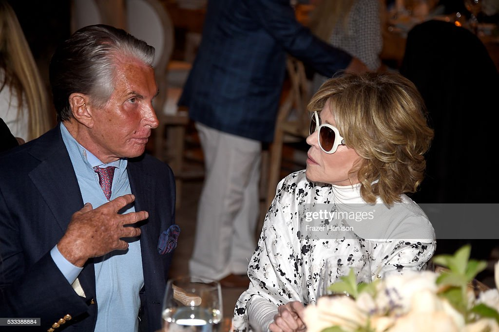 Actors George Hamilton and Jane Fonda attend The Heart Foundation 20th Anniversary Event honoring Discovery Land Company's Mike Meldman at the Green Acres Estate on May 21, 2016 in Beverly Hills, California.