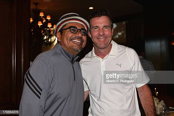 Actors George Lopez and Dennis Quaid attend the Screen Actors Guild Foundation 4th Annual Los Angeles Golf Classic at Lakeside Golf Club on June 10...