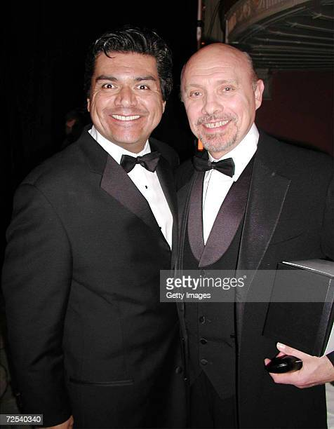Actors George Lopez and Hector Elizondo pose during National Hispanic Media Coalitions Fifth Annual Impact Awards Gala at The Millenium Biltmore...